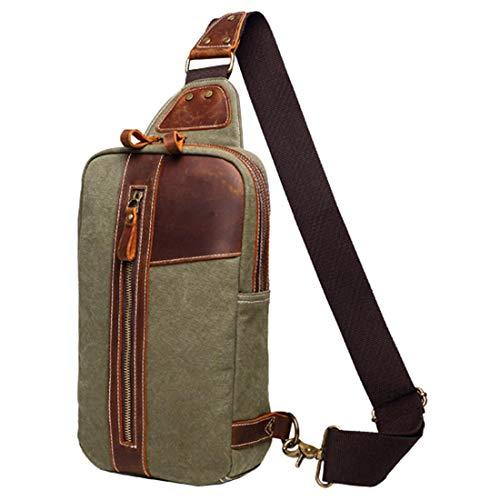 DAFROH borsttas voor heren | crossbody bag, canvas & leren sling bag | multifunctionele canvas & leren sporttas geschikt voor werk, studie, winkelen