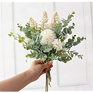 Skyseen Artificial Flowers Bouquet Eucalyptus Leaves Silk Hydrangea Begonia for Wedding,Party,Home,Office Table Decor Centerpieces(White)