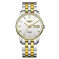 GUANQIN 時計レディース 自動巻き 機械式腕時計 防水ステンレススチールと本革 夜光 ウォッチ (シルバーゴールドホワイト)