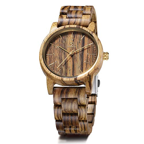 Think Creative L.E.A. Orologio Legno Uomo Orologi Da Polso Wood Watch Zebrawood Idea Regalo Originale