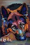 Pintar por Numeros Pastor Alemán Mascota Perro Animal DIY Cuadro al óleo con números para Kit de Pintura al óleo Digital para Adultos y niños de Lienzo decoración para el hogar 40x50cm Sin Marco