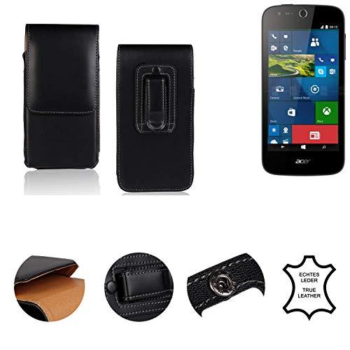 K-S-Trade® Holster Gürtel Tasche Für ACER Liquid M330 Handy Hülle Leder Schwarz, 1x