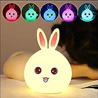 子供のためのかわいいナイトライトウサギ/クマのシリコーン保育園男の子と女の子のためのナイトライト、子供の誕生日プレゼント用-うさぎA