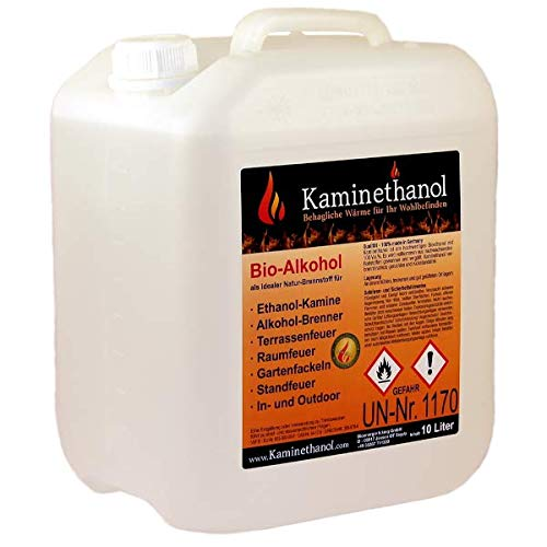 Kaminethanol Icking 10 Liter Bioethanol 100% (1 x 10 L) Premium Qualität - direkt vom Hersteller für Ethanol Kamine, Alkohol-Brenner, Terrasenfeuer, Raumfeuer und Gartenfackeln
