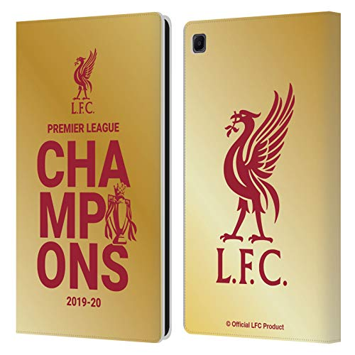 Official Liverpool Football Club Gold Typography 2020 Champions PU Leather Book Wallet Case Cover Compatible For Samsung Galaxy Tab S6 Lite