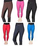 PFIFF 102290 - Pantalón para mujer, piel sintética, asiento completo, pantalones para asiento completo, marrón y negro, 18