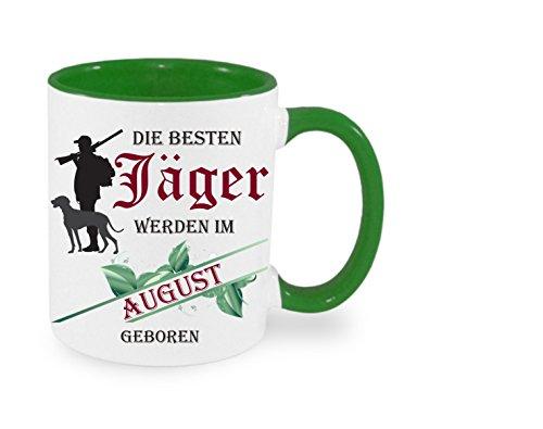 Creativ Deluxe Die besten Jäger Werden im August geboren - Kaffeetasse mit Motiv, Bedruckte Tasse mit Sprüchen oder Bildern - auch individuelle Gestaltung nach Kundenwunsch