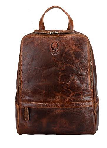 Corno d´Oro Damen Leder Rucksack I Vintage Lederrucksack Laptoprucksack für 14 Zoll Laptop I Backpack Tagesrucksack Braun BP818