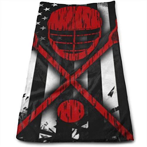 Lacrosse Handtücher für Sofakissen, amerikanische Flagge, sehr saugfähig, vielseitig einsetzbar, für Bad, Hand, Gesicht, Fitnessstudio und Spa, 70 x 40 cm