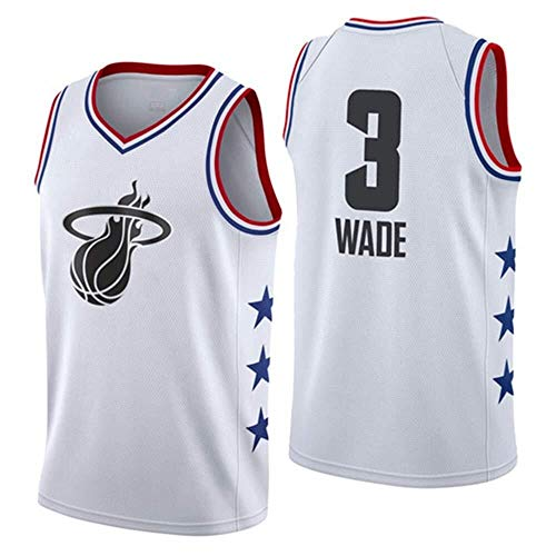 Shelfin - Camiseta de baloncesto de la NBA de Miami Heat del número 3 Wade, transpirable, grabada, color Blanco a, tamaño Small