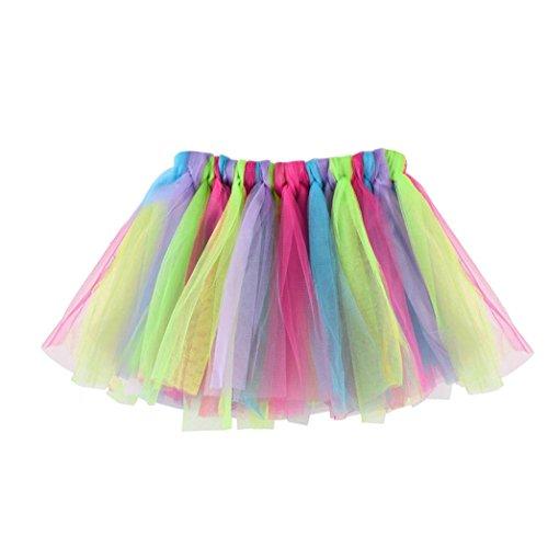 QinMM Falda Niña Chicas Enaguas Arco Iris Tutú Vistoso Vestir Ropa de Baile Costume