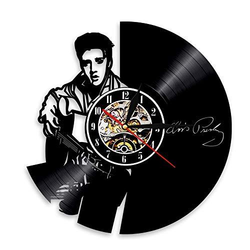 BFMBCHDJ King Vinyl Clock Retro Nostalgic Record Reloj de Pared Record Living Room Dormitorio Reloj de Pared A5 Sin LED 12 Pulgadas