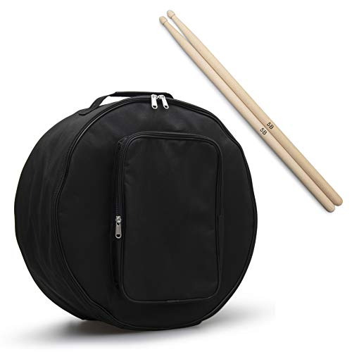 """DAMMLIO Snare Drum Bag - 14"""" x 6.5"""" Dust-Proof Padded Covers with Shoulder Strap and Carry Handle for Gigs, Marching Band, Storage, and Transport - Complete with Maple Drumsticks"""