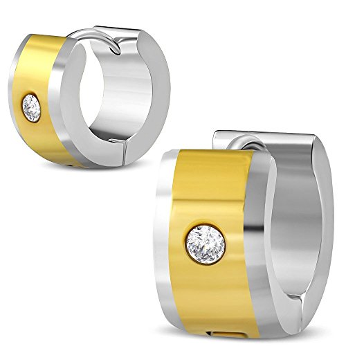 Bungsa Zweifarbige Creolen gold-silber mit Zirkonia Kristall 7mm - 1 Paar Klappcreolen Edelstahl (Ohrringe Ohrstecker Ohrhänger Huggie Ohrschmuck Ohrklemmen Damen Frauen Herren Mode)