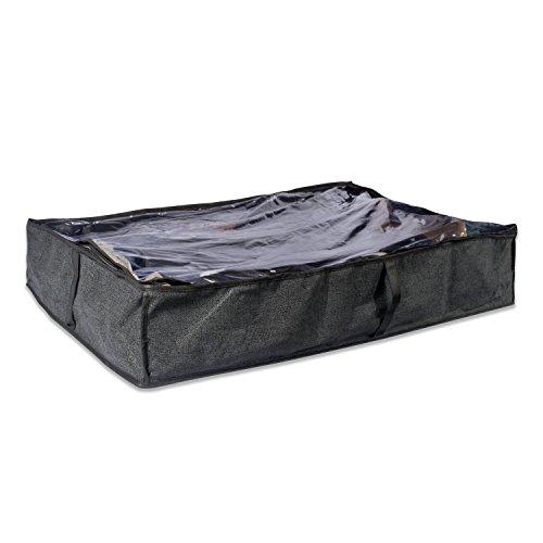 DII Bolsa de almacenamiento suave, transpirable, debajo de la cama o clóset, con ventana de visualización transparente y cierre de cierre para zapatos, Juego...
