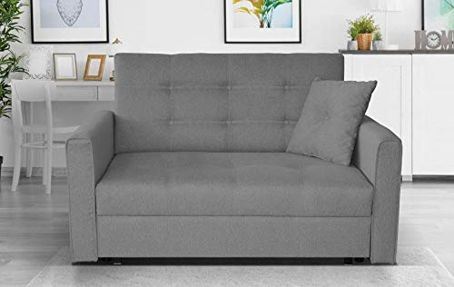 Click for more options-LARGE SOFA BED FABRIC STORAGE BED DOUBLE SINGLE GREY BEIGE BROWN (Grey, 2 seater)