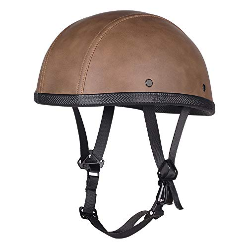 Woljay Leather Half Helmet Motorcycle Biker Vintage Touring Cruiser Scooter Helmets One Size (Brown)