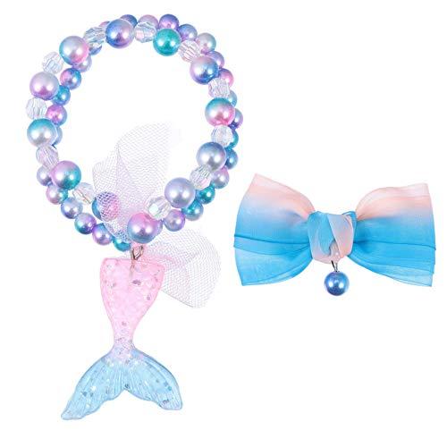 ABOOFAN 3 Piezas de Collar de Cola de Sirena Pulsera de Cuentas Juego de Clips de Arco Colgante de Pescado Pulsera de Piedras Preciosas Arcos Barrettes para Niños Y Niñas