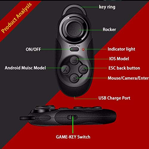 Alician Bluetooth Fernbedienung Wireless Adapter VR Joystick Gamepad für Android IOS PC TV Box 3D Virtual Reality Brille