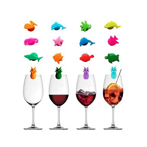Mirrwin Glasmarker Glasmarkierer Silikon Glasmarkierung Markierung Tier Party Wein Glas Glasmarker Weinglas Ananas Wiederverwendbare Glasmarkierer für Familienfeiern Tafelweinglasdekoration 16 Stück