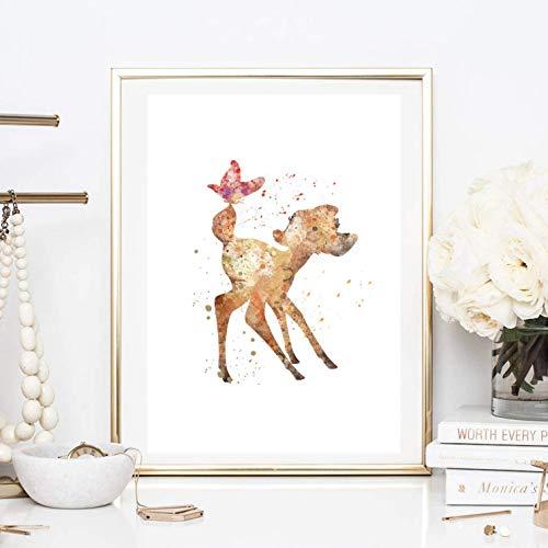 Din A4 Kunstdruck ungerahmt - Reh Hirsch inspiriert von Bambi Kinderzimmer Aquarell Wasserfarbe Vogel rosa Deko, Geschenk Druck Poster Bild