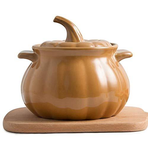CYQ Olla de Sopa con Forma de Calabaza Creativa, Olla de cerámica para estofado, cazuela de Llama Abierta, Olla de Cocina Resistente a Altas temperaturas, Utensilios de Cocina de 3.17 Cuartos