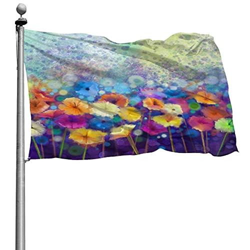 Bandera de flores de margarita Floral abstracta acuarela Shinesnow 4x6 pies Banner decorativo para exteriores bandera estándar colgante exterior