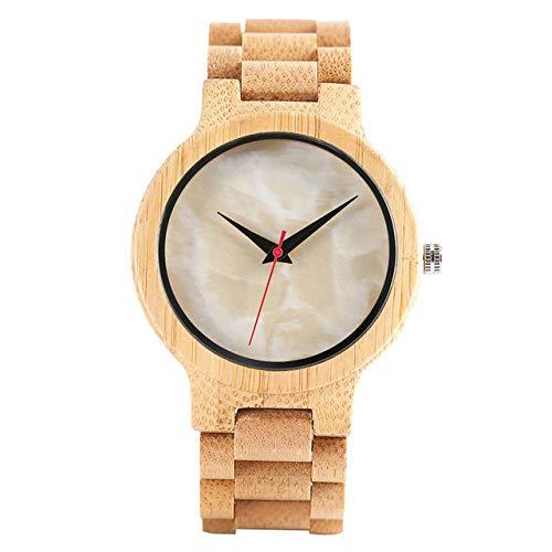 RWJFH Reloj de Madera Recién Llegado, Hecho a Mano, diseño de bambú Completo, Reloj de Pulsera de Cuarzo, Cierre de Pulsera, Esfera Verde Beige, Reloj Masculino Informal Simple, Regalo, Cara Beige