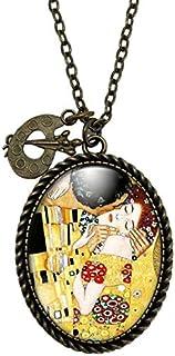 """Collana cabochon Klimt""""il bacio"""" - Regalo di Natale per idea regalo moglie - San Valentino- regalo di compleanno - bronzo ..."""