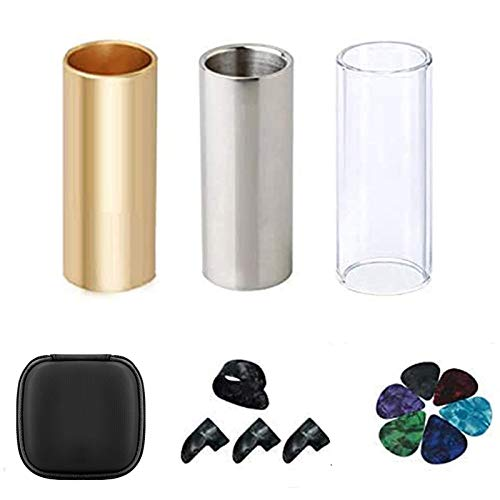 Guitar Slide, Set of 1 Glass Slide, 1 Steel Slide and 1 Brass Guitar Slide, Bonus 6 Pcs Guitar Picks, and 4 Finger Picks