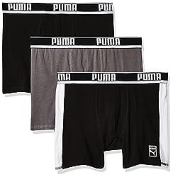 professional PUMA Men's 3 Cotton Boxer Shorts Black / White Large