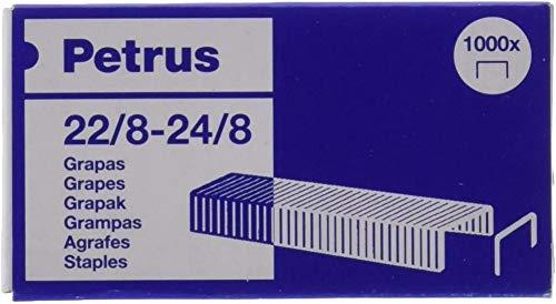 Petrus Grapas, 40 hojas, Largo 8 mm, 1000 grapas, Modelo 22/8-24/8, 55714