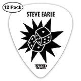Médiators Steve Earle The Dukes Townes The Basics Guitar Picks Pack de 12 pour guitare électrique, guitare acoustique, mandoline et basse de guitare