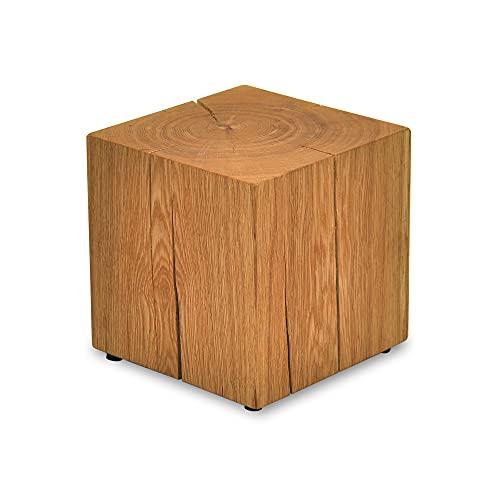 MS FACTORY Bloc de Chêne Massif - Cube en Bois - Rondin de Bois - Bout de Canapé, Colonne de Decoration, Support en Bois, Table Basse Bois, Piédestal pour Fleurs, Table de Chevet - 20 x 20 x 20 cm