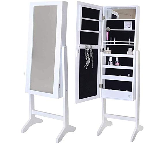N \ A Jewellery Cabinet Full Length Mirrored Armoire, Make Up Mirrored Jewelry Cabinet Mini Table Tilting Jewelry Organizer with Premium Mirror Large Storage Organizer Drawers Separate Storage