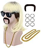 VGbeaty 70s 80s Adult Men Long Curly Black Root Blonde Mullet Mutsache Wig with Necklace and 6 Earrings Halloween Costume Cosplay Wig