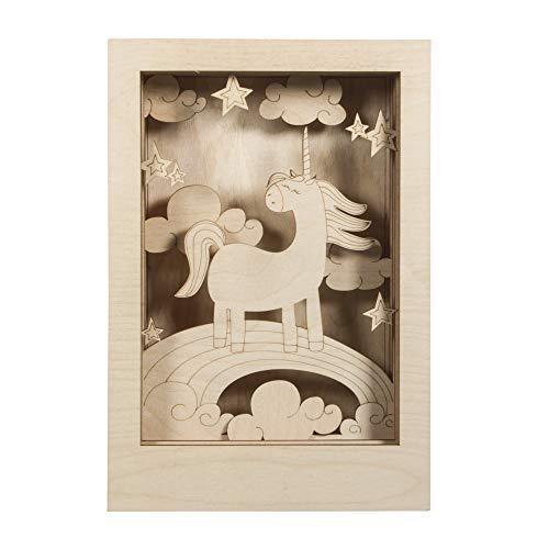 Rayher 62851505 Holzbausatz 3D-Motivrahmen Einhorn, FSC zertifiziert, natur, 20 x 30 cm, Tiefe 6,5 cm, 11teilig, zum basteln und bemalen