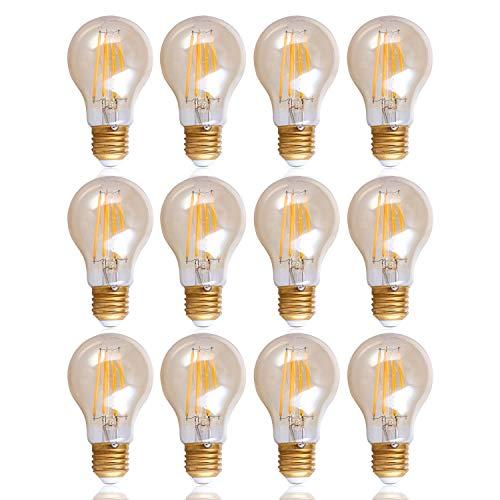Preisvergleich Produktbild LED Glühbirne Für E27 Fassung,  Vintage Leuchtmittel m. Bernsteinglas,  Dimmbar,  Farbe: Bernstein 12er Set