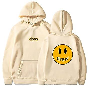 JESMIA Drew House Hoodie Merch Bieber Smiley Face Hoodies Hip Hop Trendy Couples Sweatshirt Tracksuit Sweater for Men Women  khaki1,L