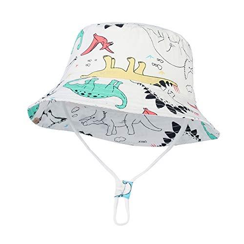 EOZY-Bebé Niño Sombrero para el Sol Protector Solar Protección UV Gorro de Pescador Dinosaurio Impresión Verano Secado rápido Gorra de Visera