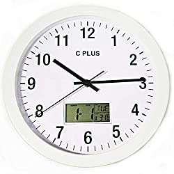 C Plus Wall Clock Non Ticking Silent Battery Operated 12 Inch Quiet Sweep Quartz Movement Modern Home Decor with Temperature Date Time Week Large Numbers Easy to Read Round Room Thermometer White