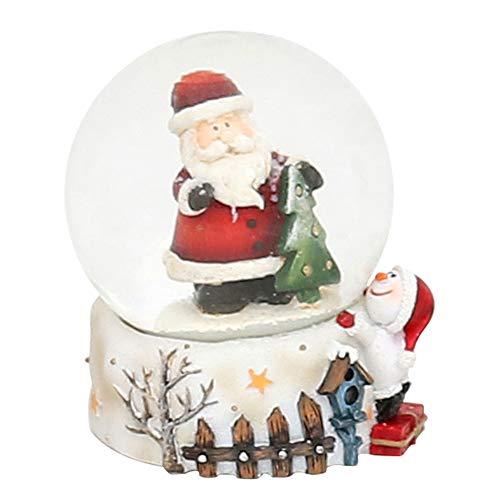 Dekohelden24 Mini-Schneekugel mit Weihnachtsmann, Sockel mit Zaun und Schneemann, Maße L/B/H: 4,5 x 4,5 x 6,8 cm Kugel Ø 4,5 cm.
