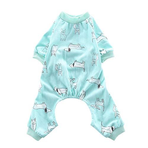 QUUY Hund Schlafanzug - Nachtwäsche Für Hunde, Weiche Baumwolle Hunde Jumpsuits 4 Beine Hund Onesies T-Shirt, Elastische Taille, Verhindert Erkältung Und Hält Warme Kleidung Für Hunde