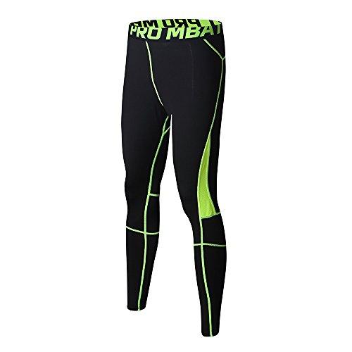 FELiCON Herren-Sport-Kompressionshose, atmungsaktiv, Workout-Kleidung, Lauf-Leggings, kühl, trocken, für alle Jahreszeiten (104-Grün,L)