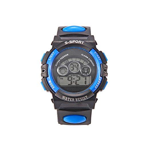 Kinder Sport-Armbanduhr, mit LED-Display, Alarm, Datum, blau, Einheitsgröße