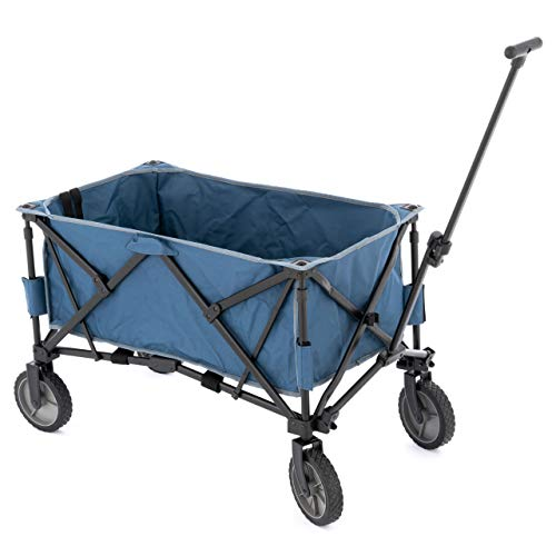 Nexos Bollerwagen Handwagen Faltwagen Gartenwagen Leiterwagen klappbar 90x52x32cm graublau, 135 l Fassungsvermögen – belastbar bis 200 kg Picknickwagen
