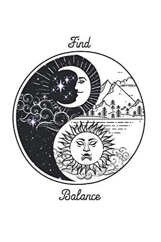yin yang: Din A5 Balance cuaderno de regalo de yoga con páginas 120