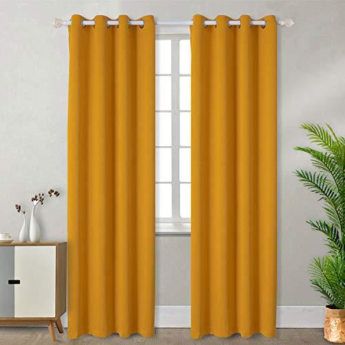 BGment Vorhänge Gardine Verdunklungsgardine mit Ösen 2 Stück Sonnenschutz für Schlafzimmer, Wohnzimmer (2X H 228 X B 117cm, Gelb)