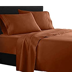 in budget affordable Clara Clarks Prime 1500 Collection 4-Piece Bedding Set-Queen Size, Burnt Sienna (Rust, Orange …