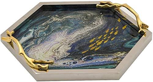 X&J Dekorative Tablett Metall Sechseck Marmor Glas Gold Tablett Modern Home Desktop Lagerung Dekoration Zubehör Lagerorganisation für Badezimmer Kommode (Color : Glass, Size : 38x5cm)